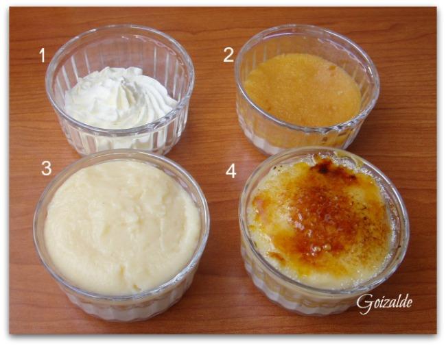 1. Poner nata en la base. 2. Colocar encima el disco de bizcocho emborrachado. 3. Terminar con la crema pastelera. 4. Espolvorear azúcar en grano y quemar