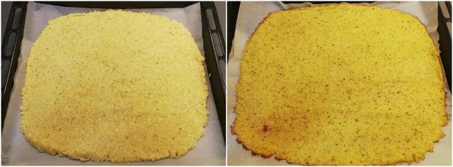 Izq: base extendida antes de hornear / Dcha: base horneada ligeramente dorada